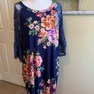 Blue Floral Dress with Lace Bell Sleeves & Pockets